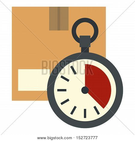 Cardboard box with stopwatch icon. Flat illustration of box vector icon for web design
