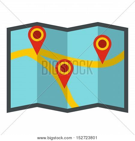 Map with pointer icon. Flat illustration of map vector icon for web design