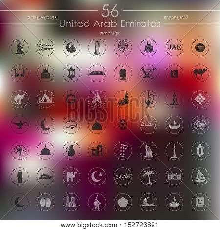 United Arab Emirates modern icons for mobile interface on blurred background