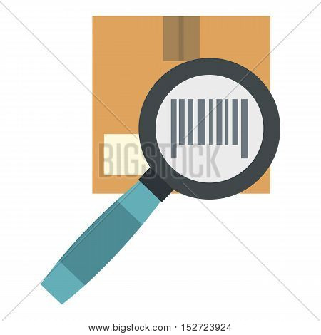 Cardboard box and magnifying glass icon. Flat illustration of magnifying glass vector icon for web design
