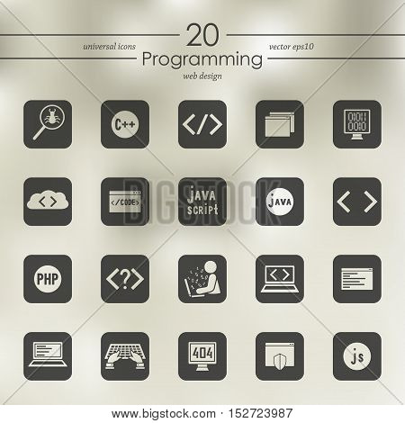 programming modern icons for mobile interface on blurred background
