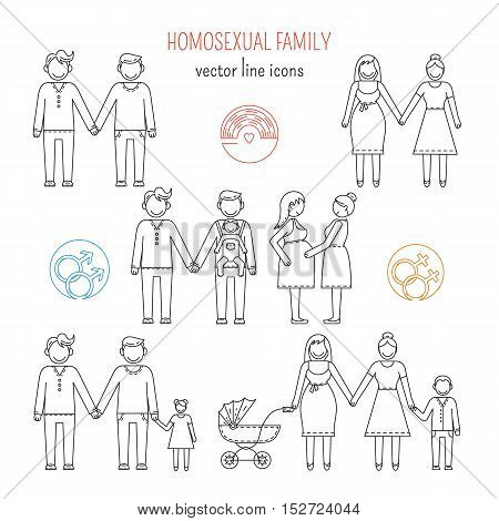 Nontraditional family line icons composition gay and lesbian homosexual couples. Vector illustration.