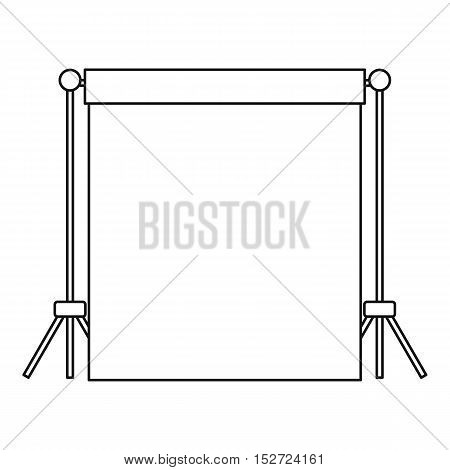 Backdrop stand with backdrop icon. Outline illustration of backdrop vector icon for web