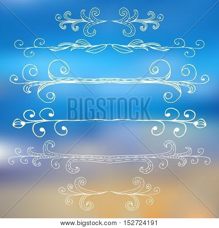 Borders and monograms set in vintage style for design. Vector illustration.