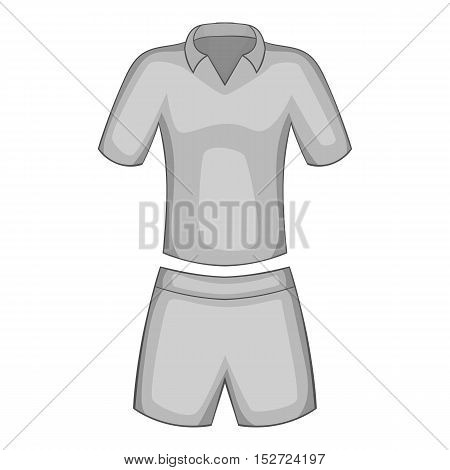 Men tennis uniforms icon. Gray monochrome illustration of men tennis uniforms vector icon for web
