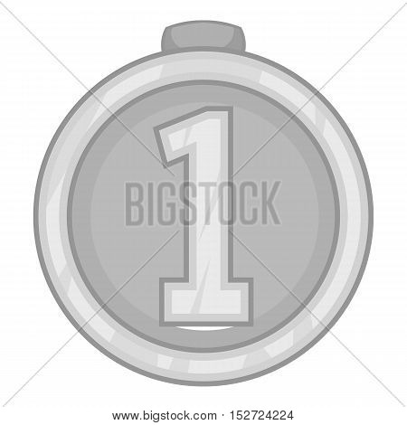 Medal for first place icon. Gray monochrome illustration of medal for first place vector icon for web