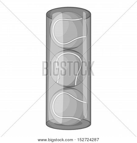 Packaging of tennis balls icon. Gray monochrome illustration of packaging of tennis balls vector icon for web
