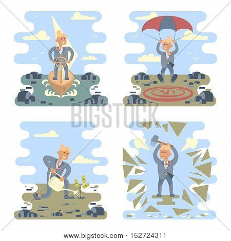 Business success concepts set. Businessman planting a money tree, stand at the wheel, breaks challenges, landing on a money icon target in the middle of the stones. Vector Character design.