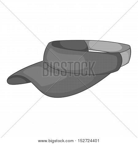 Sun cap icon. Gray monochrome illustration of sun cap vector icon for web