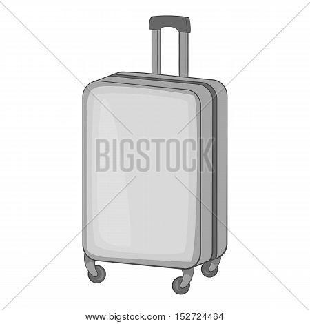 Suitcase on wheels icon. Gray monochrome illustration of suitcase on wheels vector icon for web