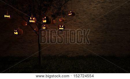 3Ds Pumpkin Head Hang From Tree