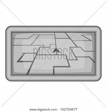 GPS navigation icon. Gray monochrome illustration of GPS navigation vector icon for web