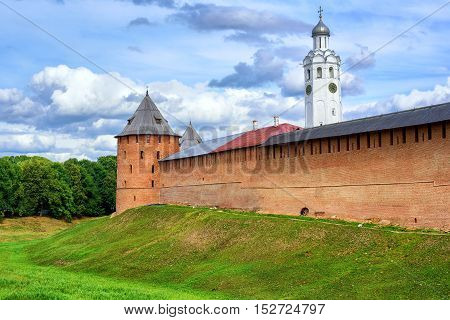 Red Walls And White Church In Novgorod Kremlin, Russia