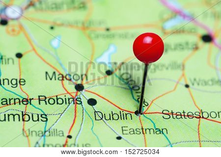 Dublin pinned on a map of Georgia, USA