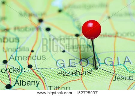 Hazlehurst pinned on a map of Georgia, USA