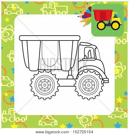 Dump truck toy. Coloring page. Vector illustration