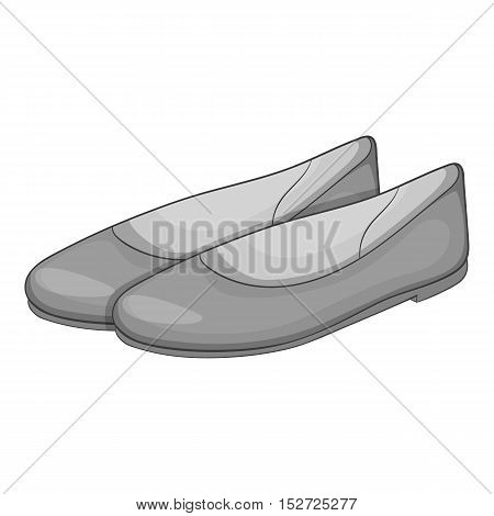 Women flat shoes icon. Gray monochrome illustration of women flat shoes vector icon for web