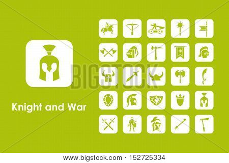 It is a set of knight and war simple web icons