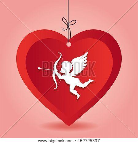 cupid love heart hanging pink background vector illustration eps 10