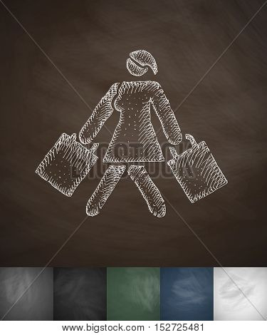 girl with shopping bags icon. Hand drawn vector illustration. Chalkboard Design