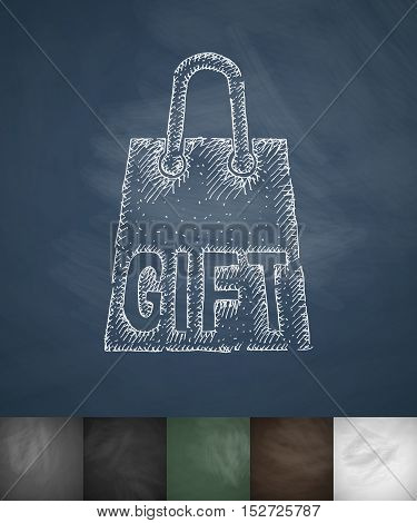 gift package icon. Hand drawn vector illustration. Chalkboard Design