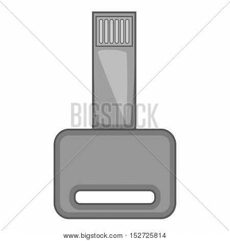 USB flash drive icon. Gray monochrome illustration of USB flash drive vector icon for web