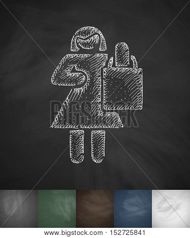 Girl with a package icon. Hand drawn vector illustration. Chalkboard Design