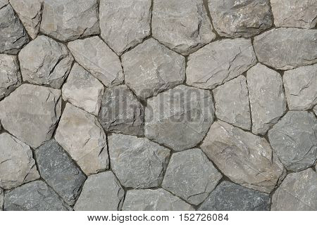 Stone wall texture and background for decorated building.