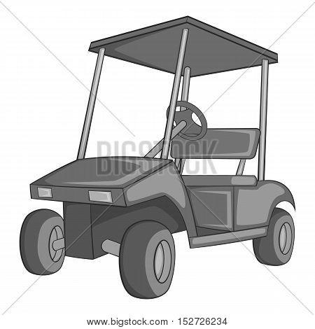 Golf car icon. Gray monochrome illustration of golf car vector icon for web