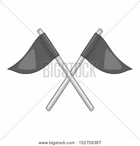 Flags of golf course icon. Gray monochrome illustration of flags of golf course vector icon for web