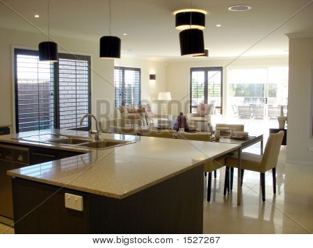 Open plan living kitchen dining image photo bigstock for Open plan living kitchen dining