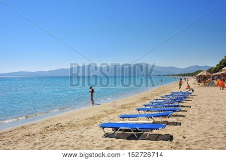 Marathon Greece - Oct 01 2016: The beautiful Schinias sandy beach one from most popular beach in Attica