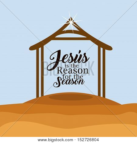 House icon. Holy family and merry christmas season theme. Colorful design. Vector illustration