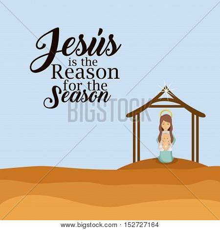 House mary and baby jesus icon. Holy family and merry christmas season theme. Colorful design. Vector illustration