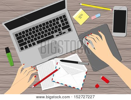 Women in the workplace. Top view of female hands, desk, laptop screen, stock vector illustration.