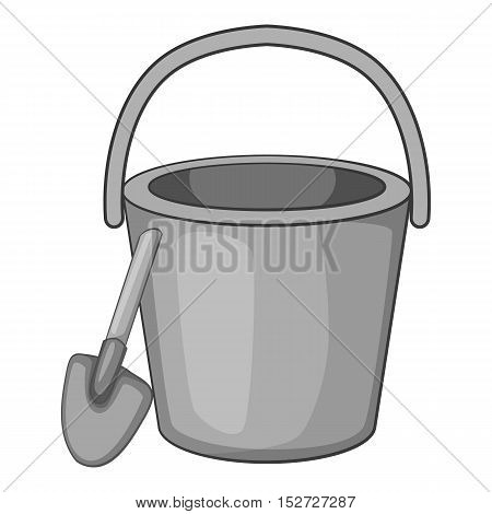 Childrens bucket with shovel icon. Gray monochrome illustration of childrens bucket with shovel vector icon for web