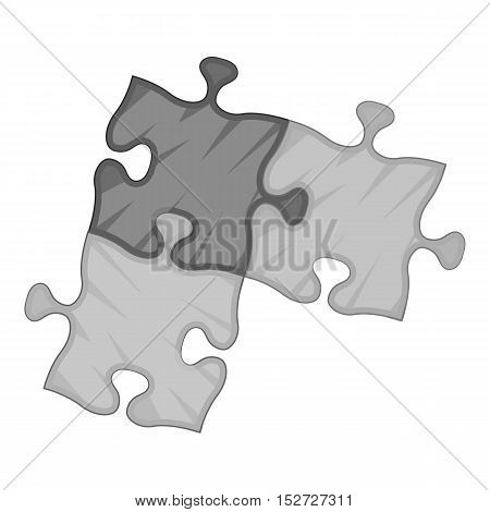 Three puzzle icon. Gray monochrome illustration of three puzzle vector icon for web