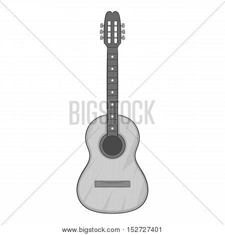 Guitar icon. Gray monochrome illustration of guitar vector icon for web