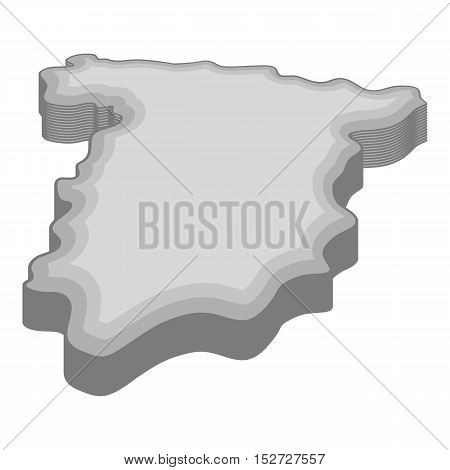 Map of Spain icon. Gray monochrome illustration of map of Spain vector icon for web