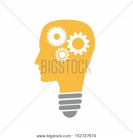 Vector concept startup. Head with gears. Isolated illustration