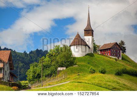 Church On A Hill In Central Switzerland Near Zurich
