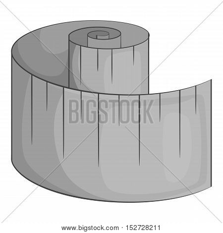 Measuring tape icon. Gray monochrome illustration of measuring tape vector icon for web
