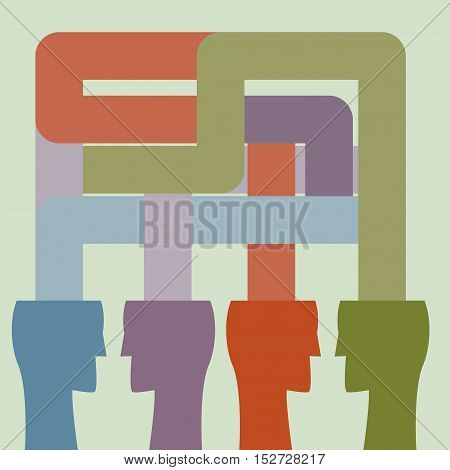 Vector abstract communication and teamwork background. Flat design