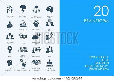 BLUE HAMSTER Library brainstorm vector set of modern simple icons