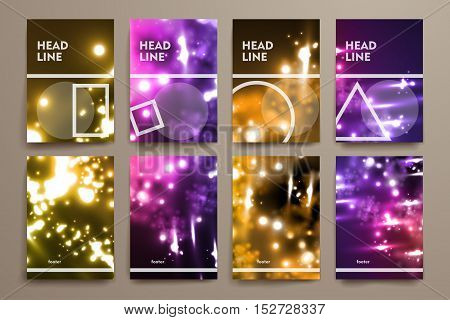 Set of brochure, poster templates in neon molecule structure style. Beautiful design and layout
