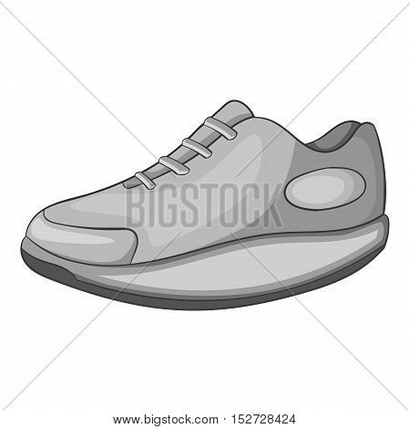 Sneakers icon. Gray monochrome illustration of sneakers vector icon for web