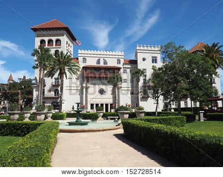 St. Augustine FL - September 26: the historic hotel is one of the oldest in the United States. First opened in 1888 it is Moorish Revival and Spanish Baroque Revival architectural style.