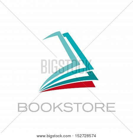 Vector sign abstract shape of book, isolated illustration
