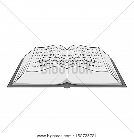 Ancient book icon. Gray monochrome illustration of ancient book vector icon for web