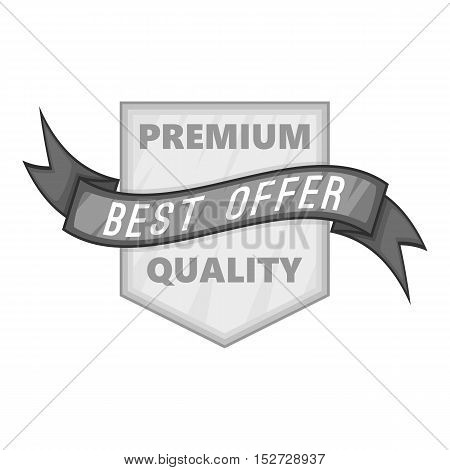Label premium quality best offer icon. Gray monochrome illustration of label premium quality best offer vector icon for web